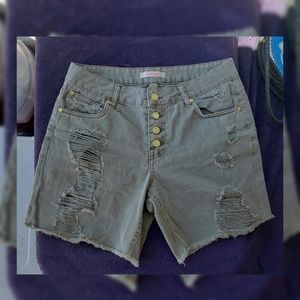 Charlotte Russe High Waist Rise Ripped Jean Shorts